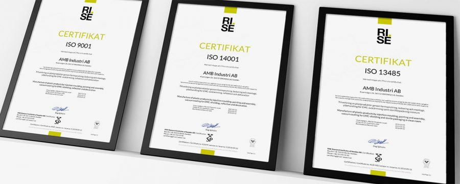Inramade certifikat ISO 9001, ISO 14001 & ISO 13485