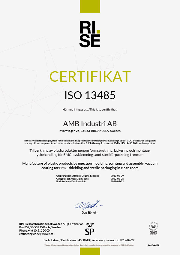 Quality Certificate ISO 13485-2016