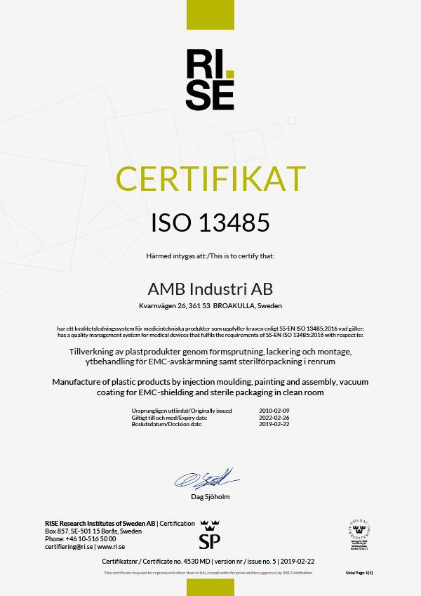 Kvalitetscertifikat ISO 13485-2016