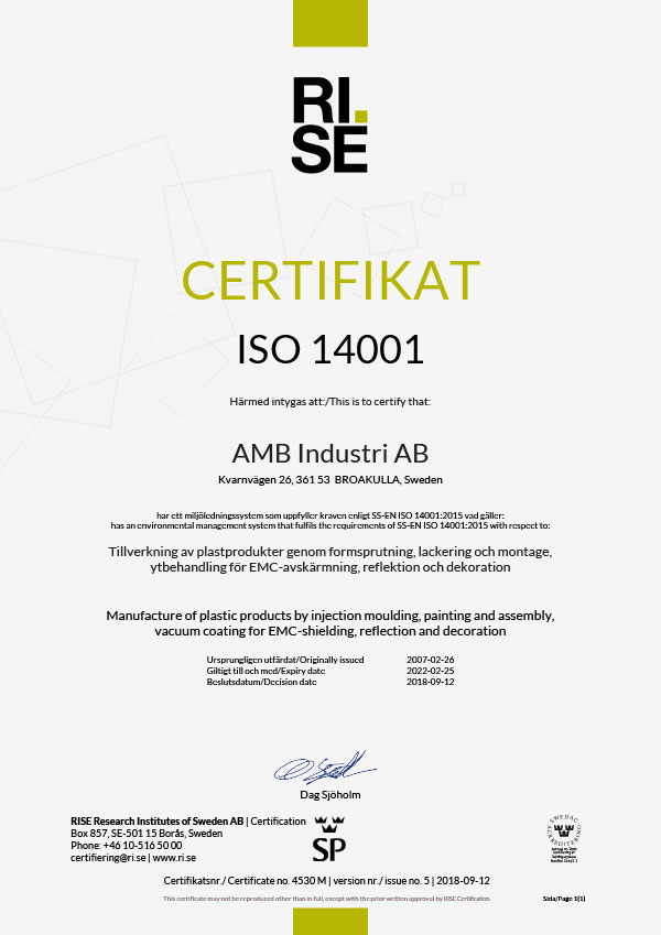 Quality Certificate ISO 14001-2015