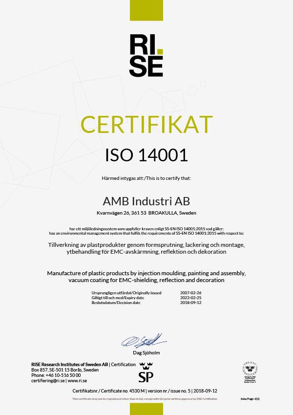 Kvalitetscertifikat ISO 14001-2015