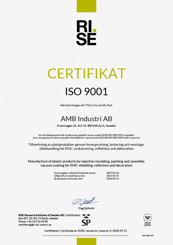 Quality Certificate ISO 9001-