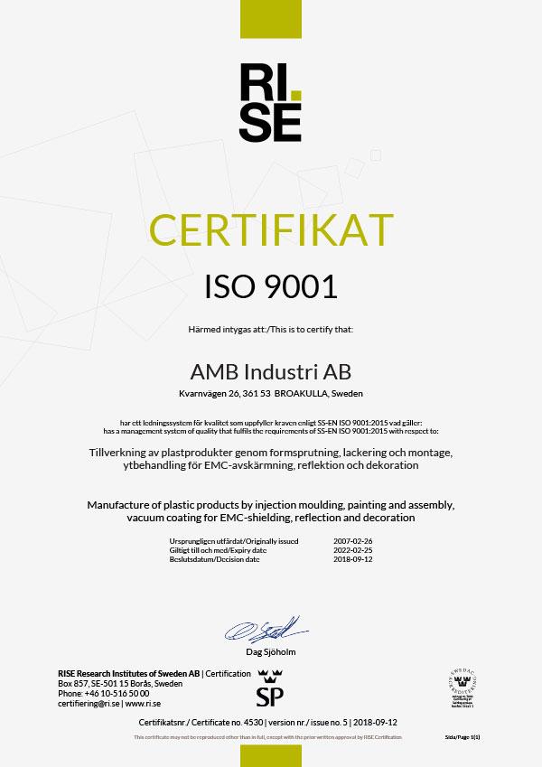 Kvalitetscertifikat ISO 9001-2015
